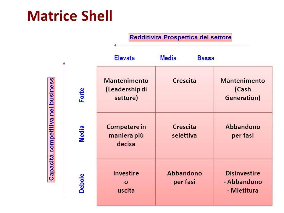 Capacità competitiva nel business Redditività Prospettica del settore Matrice Shell Elevata Media Bassa Debole Media Forte