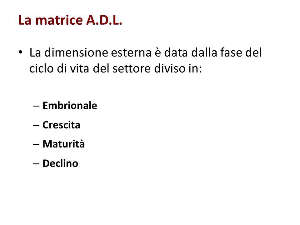 La matrice A.D.L. La dimensione esterna è data dalla fase del ciclo di vita del settore diviso in: – Embrionale – Crescita – Maturità – Declino