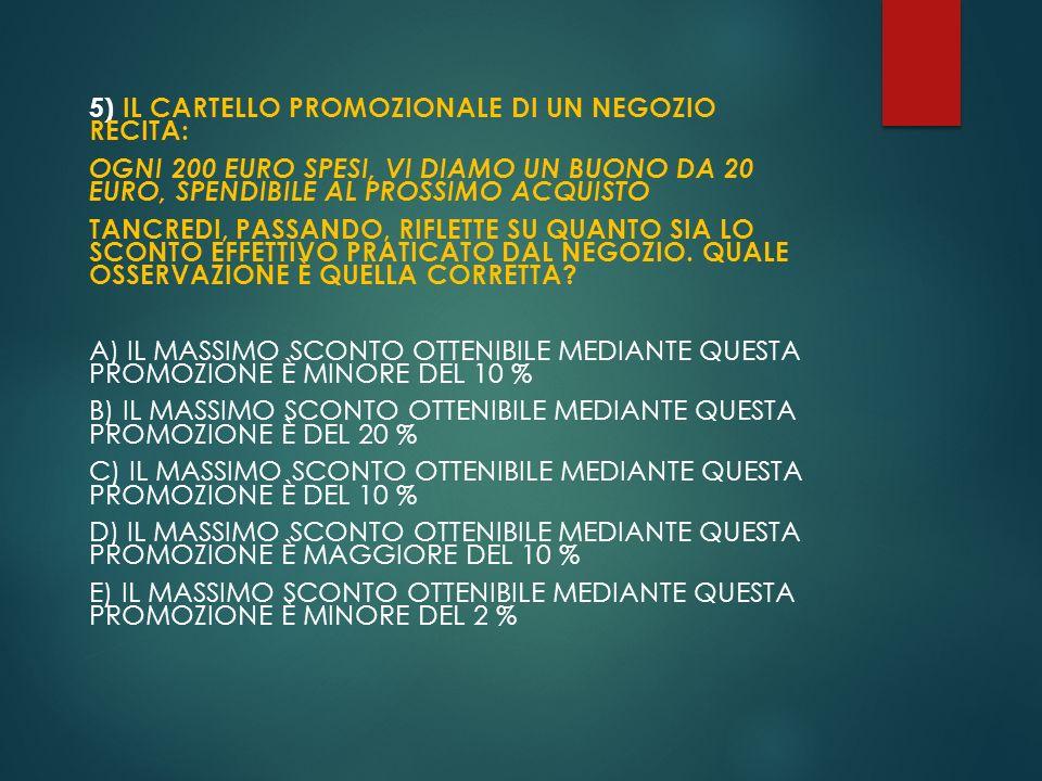 5) IL CARTELLO PROMOZIONALE DI UN NEGOZIO RECITA: OGNI 200 EURO SPESI, VI DIAMO UN BUONO DA 20 EURO, SPENDIBILE AL PROSSIMO ACQUISTO TANCREDI, PASSAND