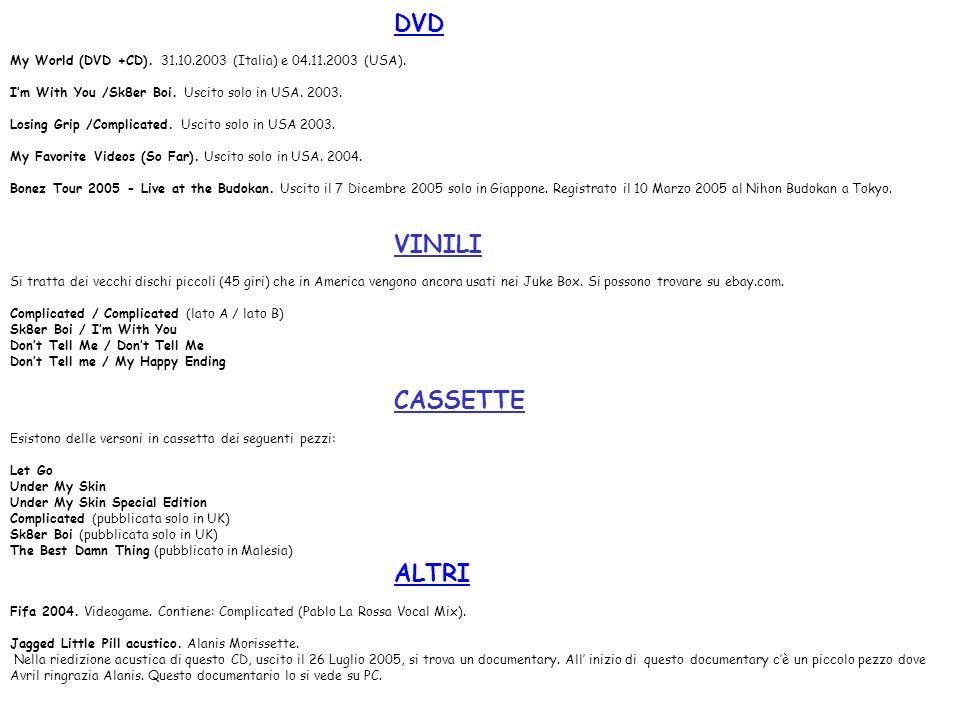 DVD My World (DVD +CD). 31.10.2003 (Italia) e 04.11.2003 (USA). Im With You /Sk8er Boi. Uscito solo in USA. 2003. Losing Grip /Complicated. Uscito sol