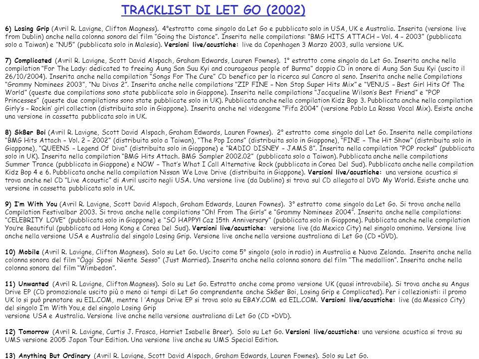 TRACKLIST DI LET GO (2002) 6) Losing Grip (Avril R. Lavigne, Clifton Magness). 4°estratto come singolo da Let Go e pubblicato solo in USA, UK e Austra