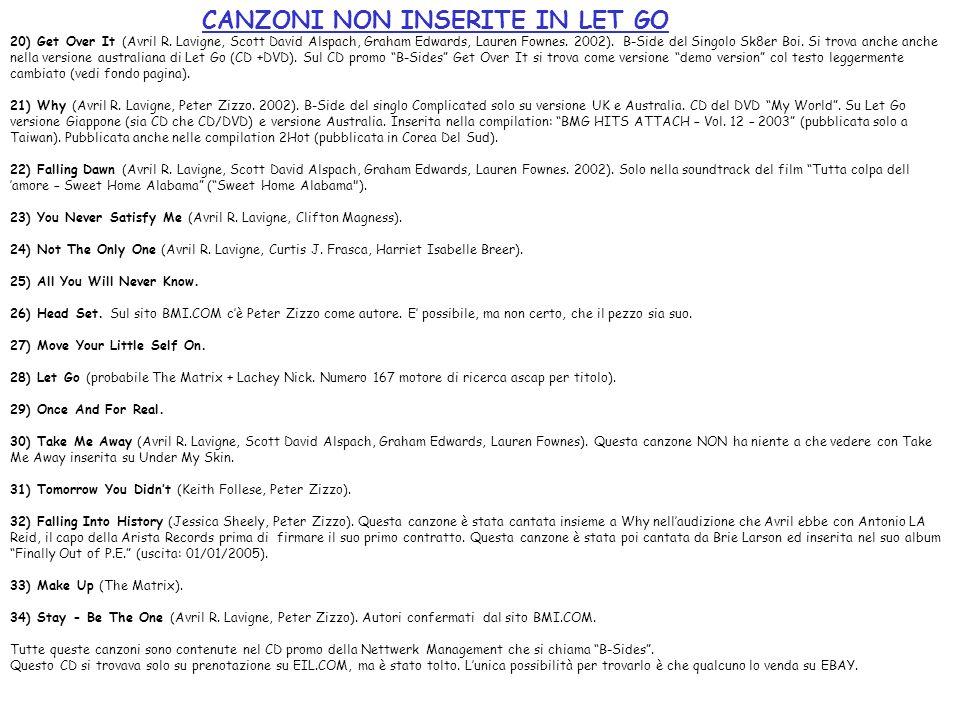 CANZONI NON INSERITE IN LET GO 20) Get Over It (Avril R. Lavigne, Scott David Alspach, Graham Edwards, Lauren Fownes. 2002). B-Side del Singolo Sk8er