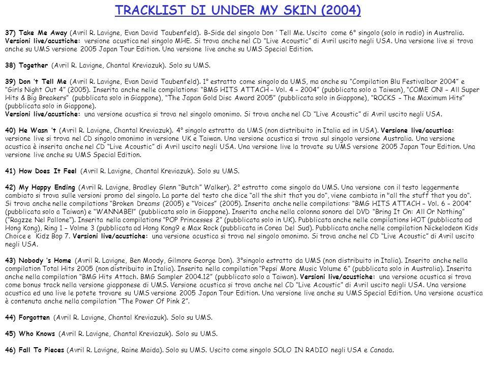 TRACKLIST DI UNDER MY SKIN (2004) 37) Take Me Away (Avril R. Lavigne, Evan David Taubenfeld). B-Side del singolo Don Tell Me. Uscito come 6° singolo (