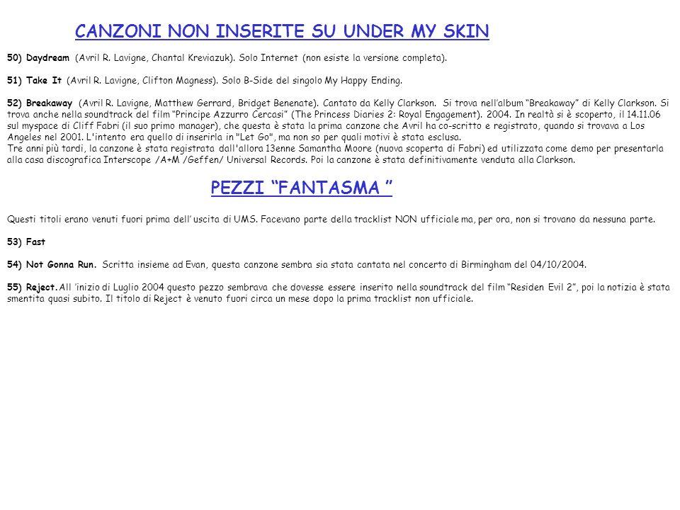 CANZONI NON INSERITE SU UNDER MY SKIN 50) Daydream (Avril R. Lavigne, Chantal Kreviazuk). Solo Internet (non esiste la versione completa). 51) Take It