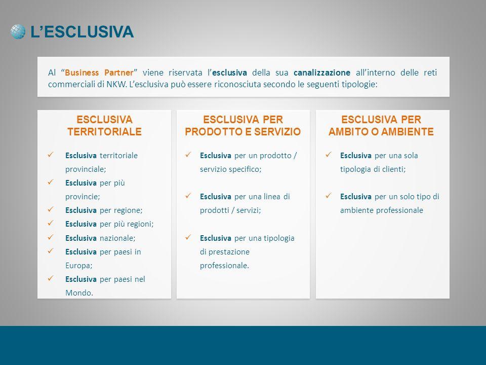 LESCLUSIVA Al Business Partner viene riservata lesclusiva della sua canalizzazione allinterno delle reti commerciali di NKW.