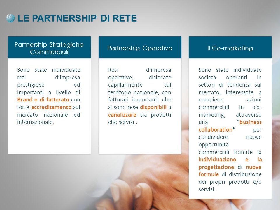 LE PARTNERSHIP DI RETE Partnership Strategiche Commerciali Partnership Operative Il Co-marketing Sono state individuate reti dimpresa prestigiose ed importanti a livello di Brand e di fatturato con forte accreditamento sul mercato nazionale ed internazionale.