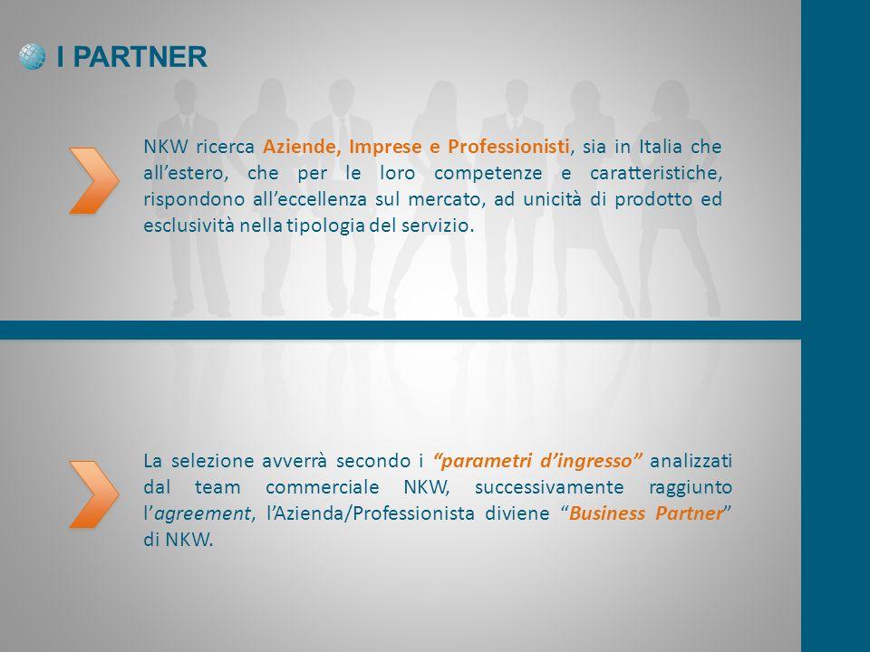 I PARTNER NKW ricerca Aziende, Imprese e Professionisti, sia in Italia che allestero, che per le loro competenze e caratteristiche, rispondono alleccellenza sul mercato, ad unicità di prodotto ed esclusività nella tipologia del servizio.