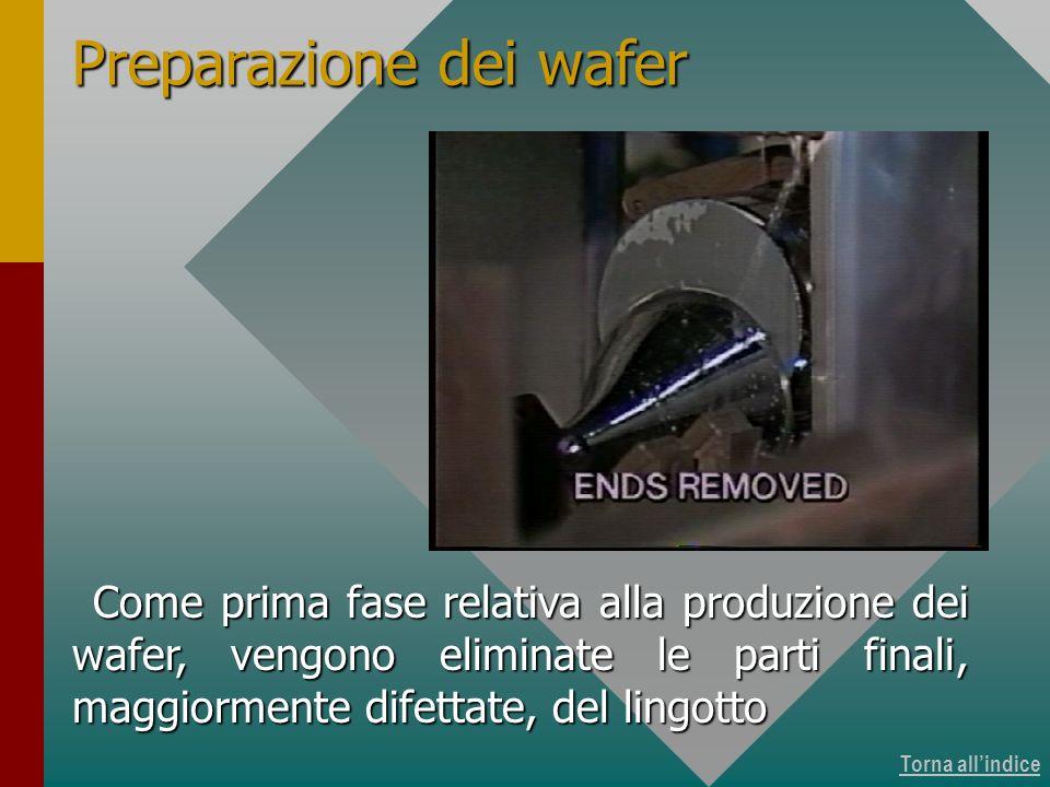 Torna allindice Come prima fase relativa alla produzione dei wafer, vengono eliminate le parti finali, maggiormente difettate, del lingotto Preparazio