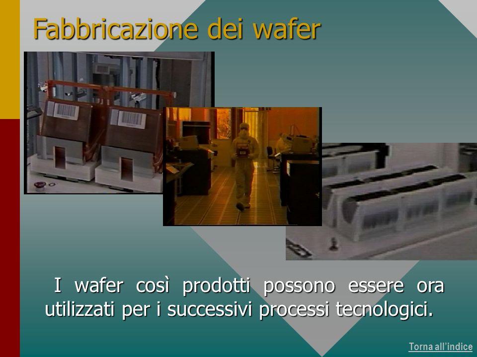 Torna allindice Fabbricazione dei wafer I wafer così prodotti possono essere ora utilizzati per i successivi processi tecnologici. Produzione dei wafe