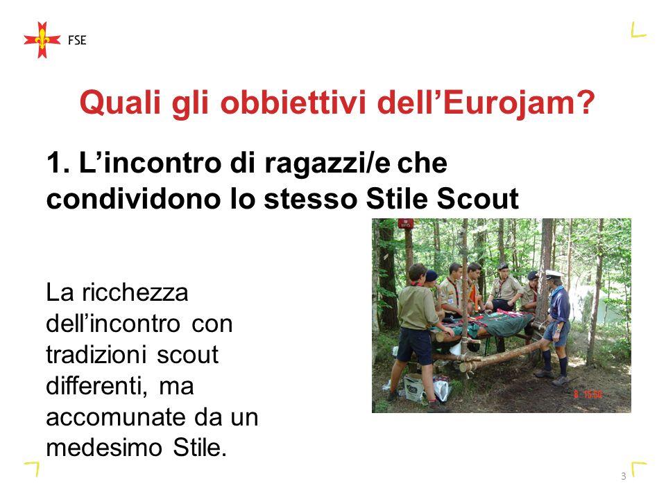 3 Quali gli obbiettivi dellEurojam? 1. Lincontro di ragazzi/e che condividono lo stesso Stile Scout La ricchezza dellincontro con tradizioni scout dif