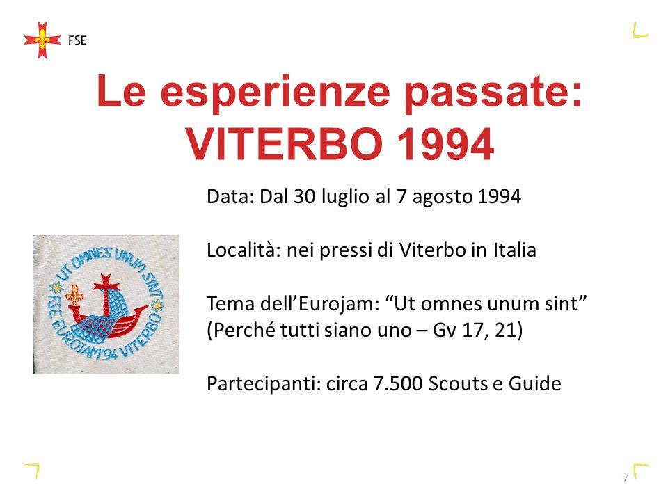 7 Le esperienze passate: VITERBO 1994 Data: Dal 30 luglio al 7 agosto 1994 Località: nei pressi di Viterbo in Italia Tema dellEurojam: Ut omnes unum sint (Perché tutti siano uno – Gv 17, 21) Partecipanti: circa 7.500 Scouts e Guide