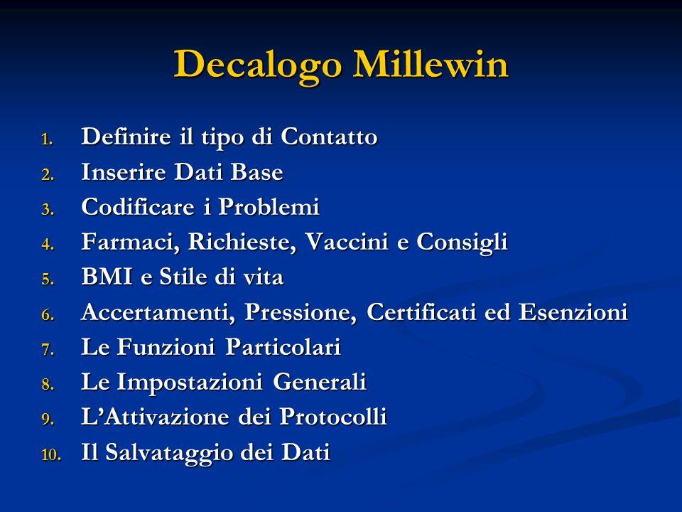 Decalogo Millewin 1. Definire il tipo di Contatto 2. Inserire Dati Base 3. Codificare i Problemi 4. Farmaci, Richieste, Vaccini e Consigli 5. BMI e St