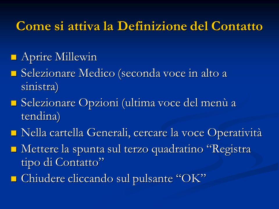 Come si attiva la Definizione del Contatto Aprire Millewin Aprire Millewin Selezionare Medico (seconda voce in alto a sinistra) Selezionare Medico (se
