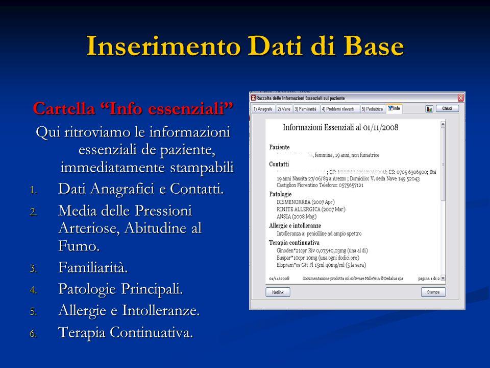 Inserimento Dati di Base Cartella Info essenziali Qui ritroviamo le informazioni essenziali de paziente, immediatamente stampabili 1. Dati Anagrafici