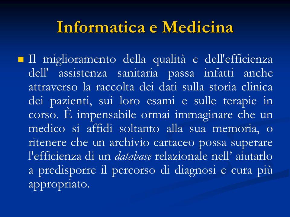 Informatica e Medicina Il miglioramento della qualità e dell'efficienza dell' assistenza sanitaria passa infatti anche attraverso la raccolta dei dati