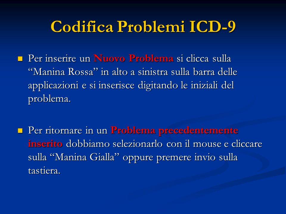 Codifica Problemi ICD-9 Per inserire un Nuovo Problema si clicca sulla Manina Rossa in alto a sinistra sulla barra delle applicazioni e si inserisce d