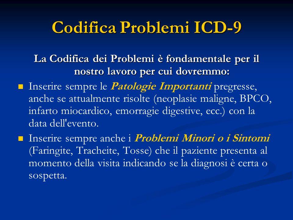 Codifica Problemi ICD-9 La Codifica dei Problemi è fondamentale per il nostro lavoro per cui dovremmo: Inserire sempre le Patologie Importanti pregres