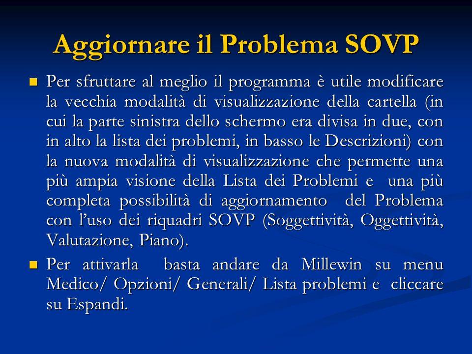 Aggiornare il Problema SOVP Per sfruttare al meglio il programma è utile modificare la vecchia modalità di visualizzazione della cartella (in cui la p