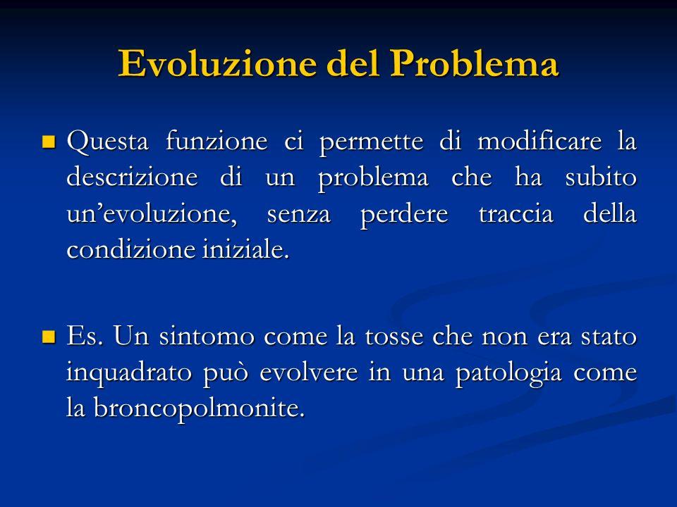 Evoluzione del Problema Questa funzione ci permette di modificare la descrizione di un problema che ha subito unevoluzione, senza perdere traccia dell