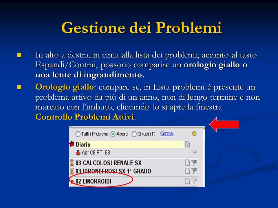 Gestione dei Problemi In alto a destra, in cima alla lista dei problemi, accanto al tasto Espandi/Contrai, possono comparire un orologio giallo o una