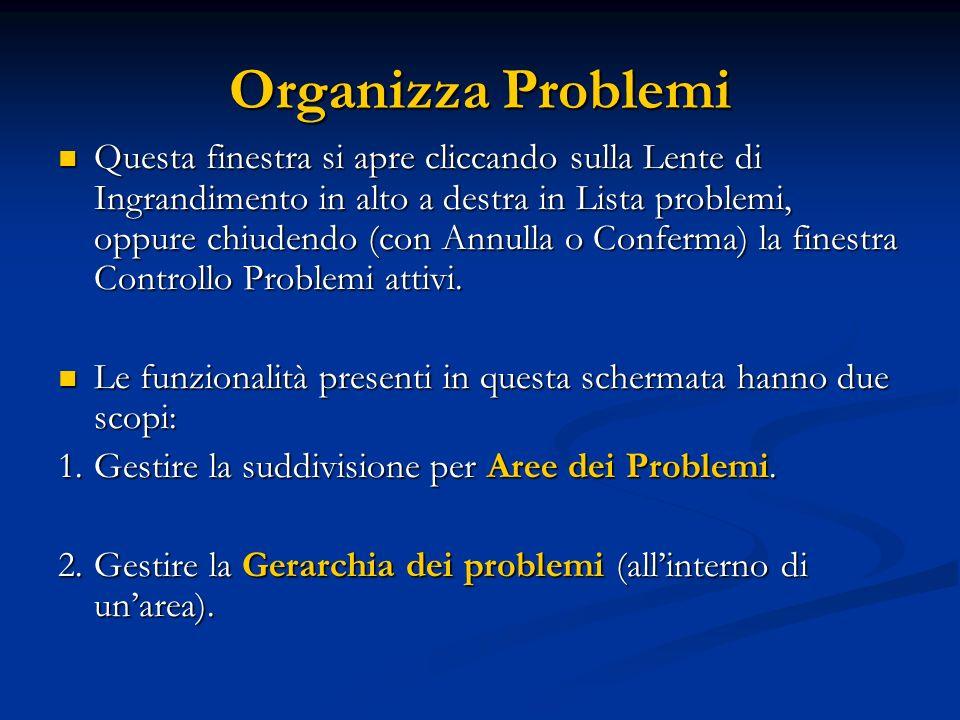 Organizza Problemi Questa finestra si apre cliccando sulla Lente di Ingrandimento in alto a destra in Lista problemi, oppure chiudendo (con Annulla o