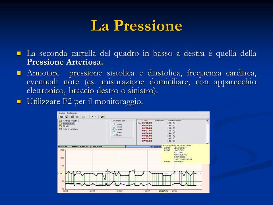La Pressione La seconda cartella del quadro in basso a destra è quella della Pressione Arteriosa. La seconda cartella del quadro in basso a destra è q