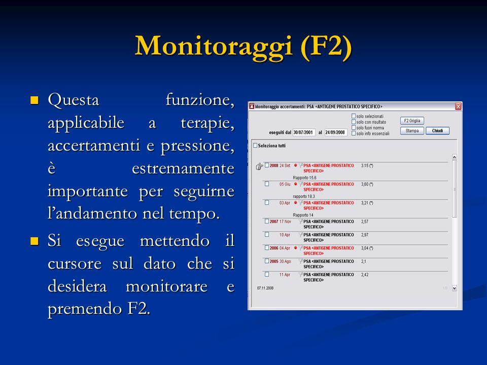 Monitoraggi (F2) Questa funzione, applicabile a terapie, accertamenti e pressione, è estremamente importante per seguirne landamento nel tempo. Questa
