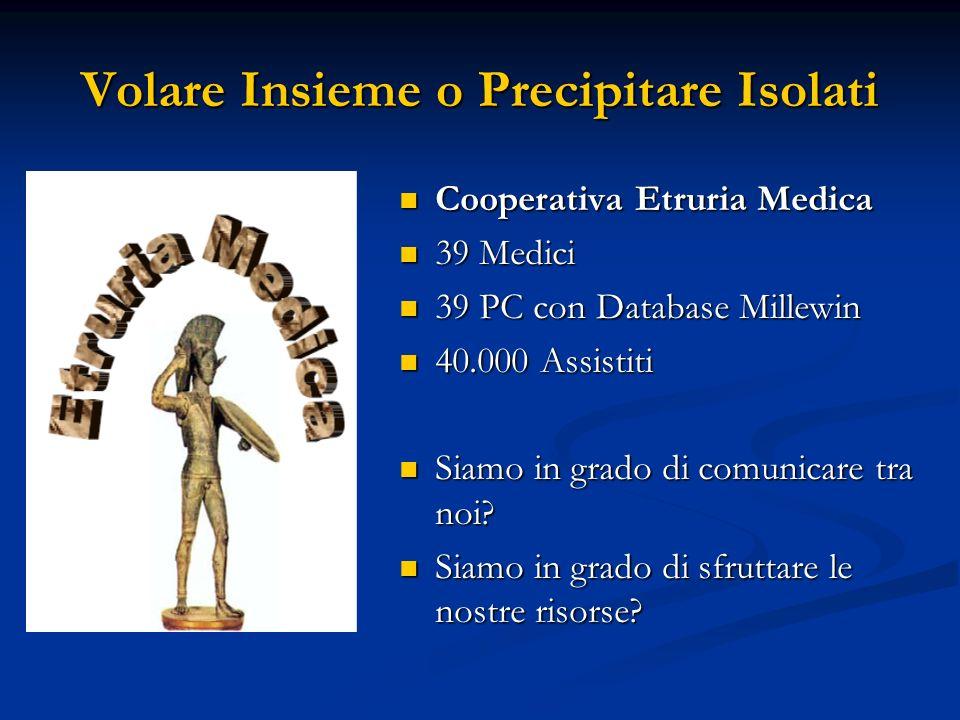Volare Insieme o Precipitare Isolati Cooperativa Etruria Medica 39 Medici 39 PC con Database Millewin 40.000 Assistiti Siamo in grado di comunicare tr