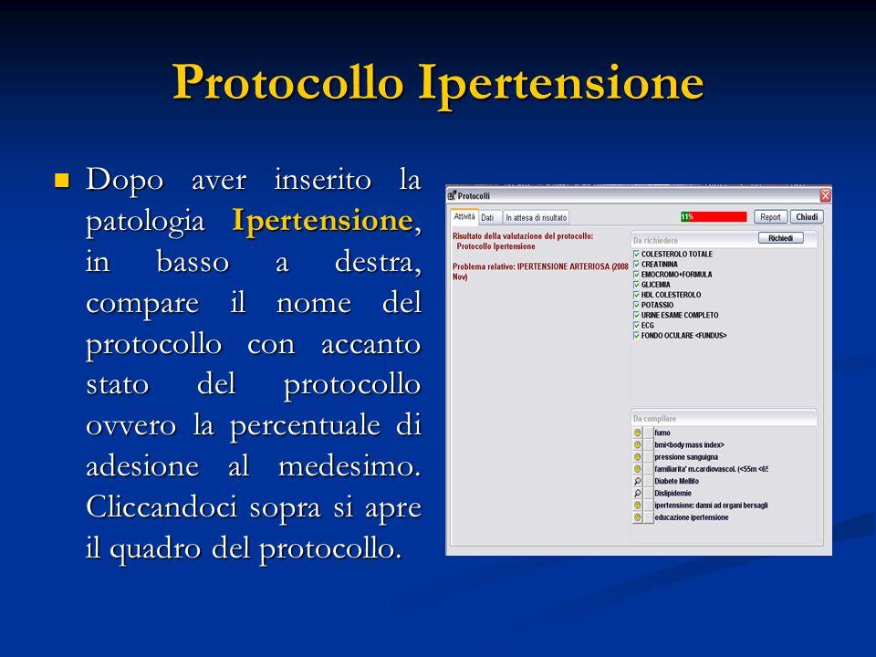 Protocollo Ipertensione Dopo aver inserito la patologia Ipertensione, in basso a destra, compare il nome del protocollo con accanto stato del protocol