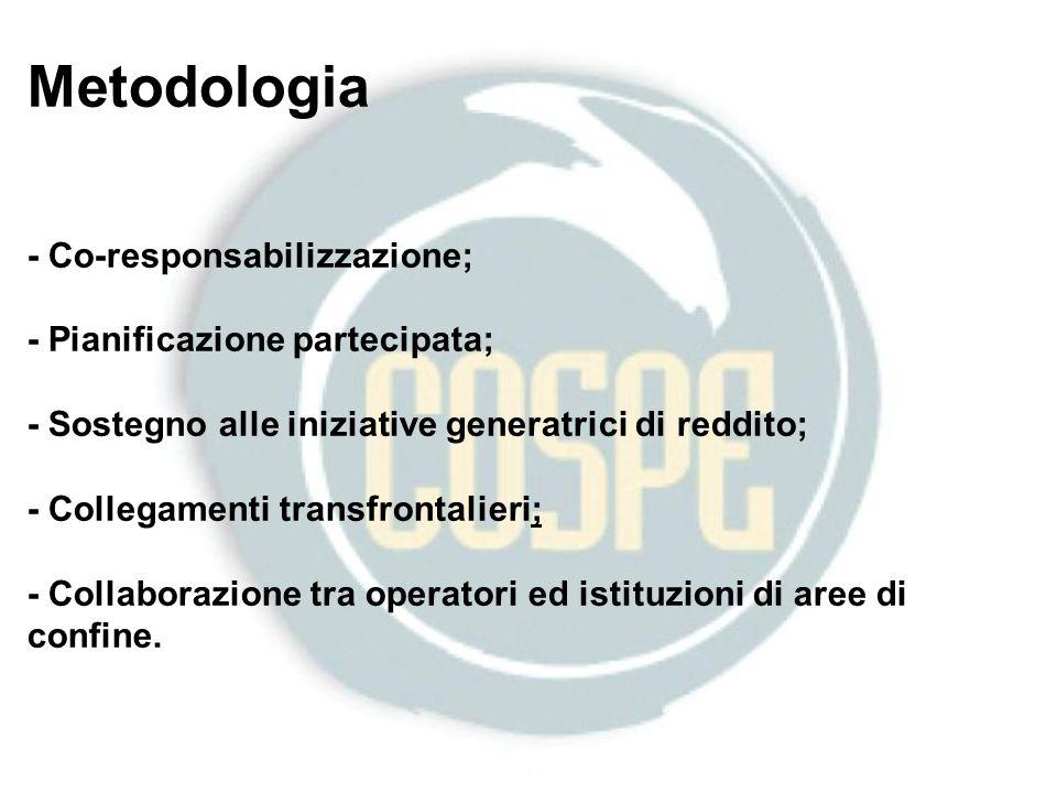 Metodologia - Co-responsabilizzazione; - Pianificazione partecipata; - Sostegno alle iniziative generatrici di reddito; - Collegamenti transfrontalieri; - Collaborazione tra operatori ed istituzioni di aree di confine.
