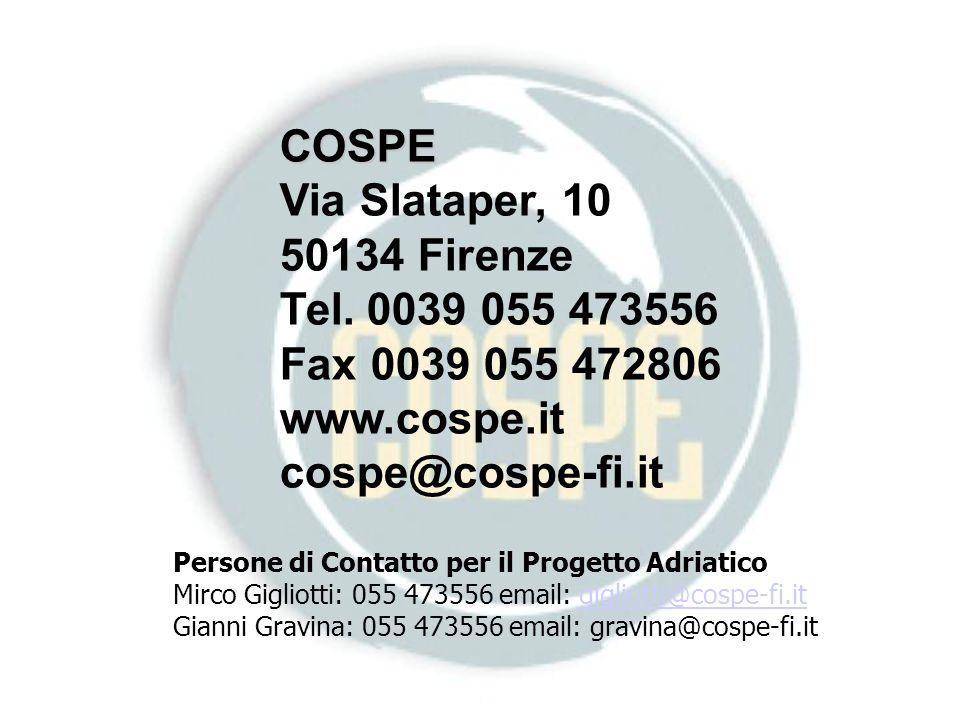 Persone di Contatto per il Progetto Adriatico Mirco Gigliotti: 055 473556 email: gigliotti@cospe-fi.itgigliotti@cospe-fi.it Gianni Gravina: 055 473556 email: gravina@cospe-fi.it COSPE Via Slataper, 10 50134 Firenze Tel.