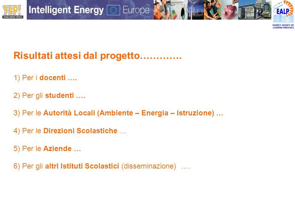 Risultati attesi dal progetto…………. 1) Per i docenti …. 2) Per gli studenti …. 3) Per le Autorità Locali (Ambiente – Energia – Istruzione) … 4) Per le