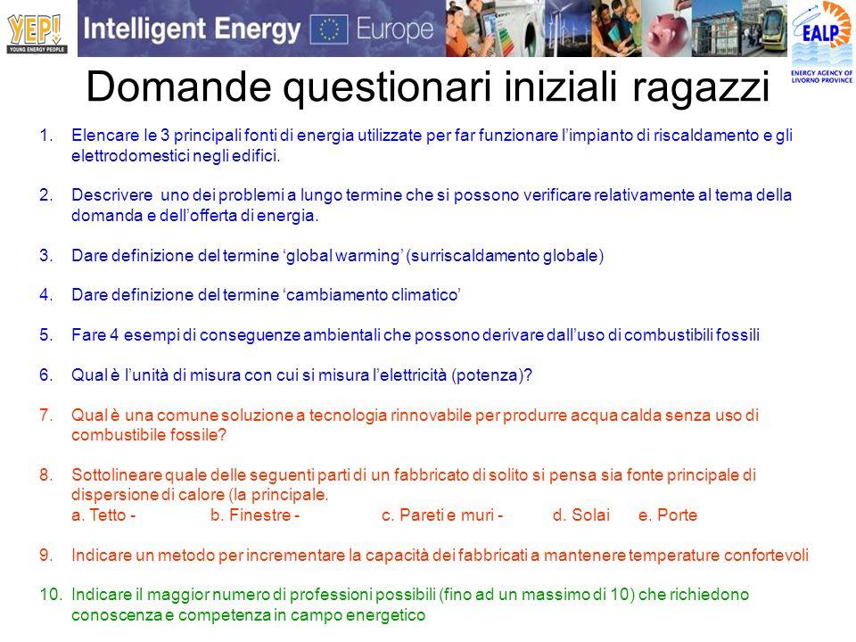 Domande questionari iniziali ragazzi 1.Elencare Ie 3 principali fonti di energia utilizzate per far funzionare limpianto di riscaldamento e gli elettr