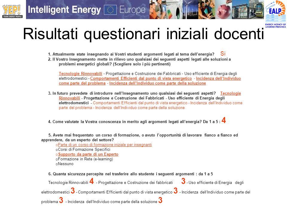 Risultati questionari iniziali docenti 1. Attualmente state insegnando ai Vostri studenti argomenti legati al tema dellenergia? Si 2. Il Vostro Insegn
