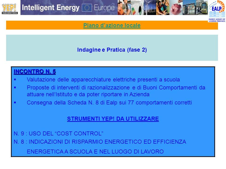 Piano dazione locale Indagine e Pratica (fase 2) INCONTRO N. 5 Valutazione delle apparecchiature elettriche presenti a scuola Proposte di interventi d