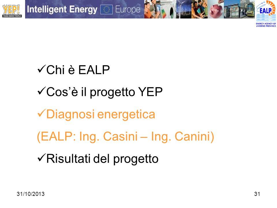 31/10/201331 Chi è EALP Cosè il progetto YEP Diagnosi energetica (EALP: Ing. Casini – Ing. Canini) Risultati del progetto