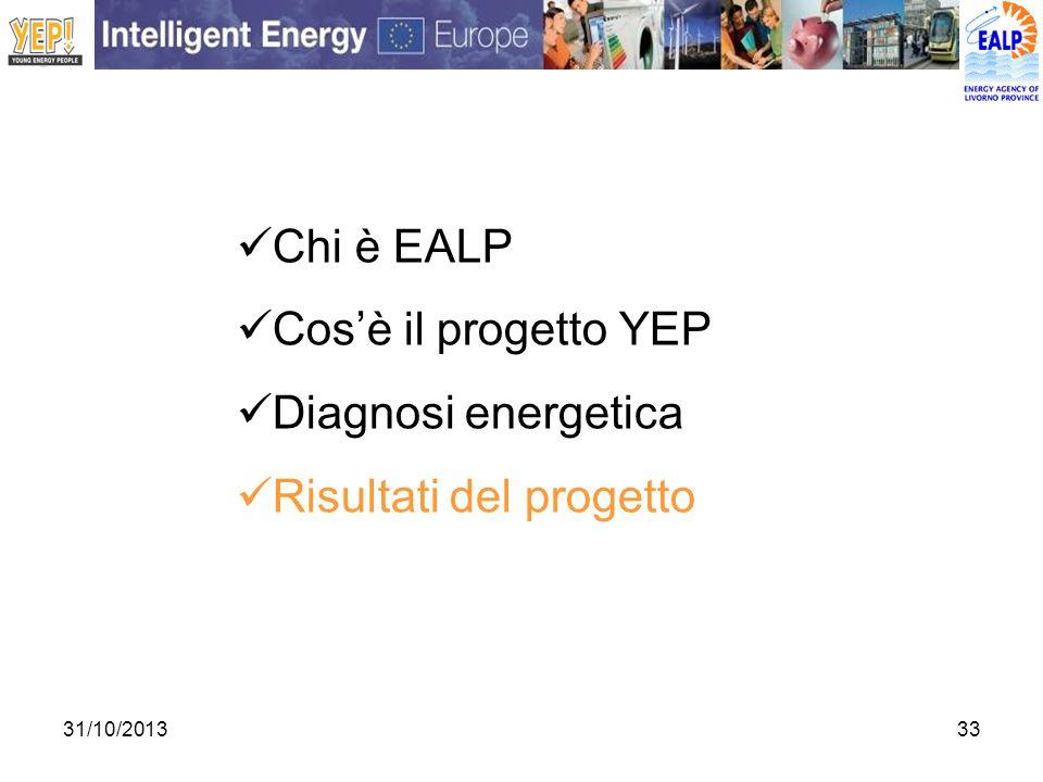 31/10/201333 Chi è EALP Cosè il progetto YEP Diagnosi energetica Risultati del progetto