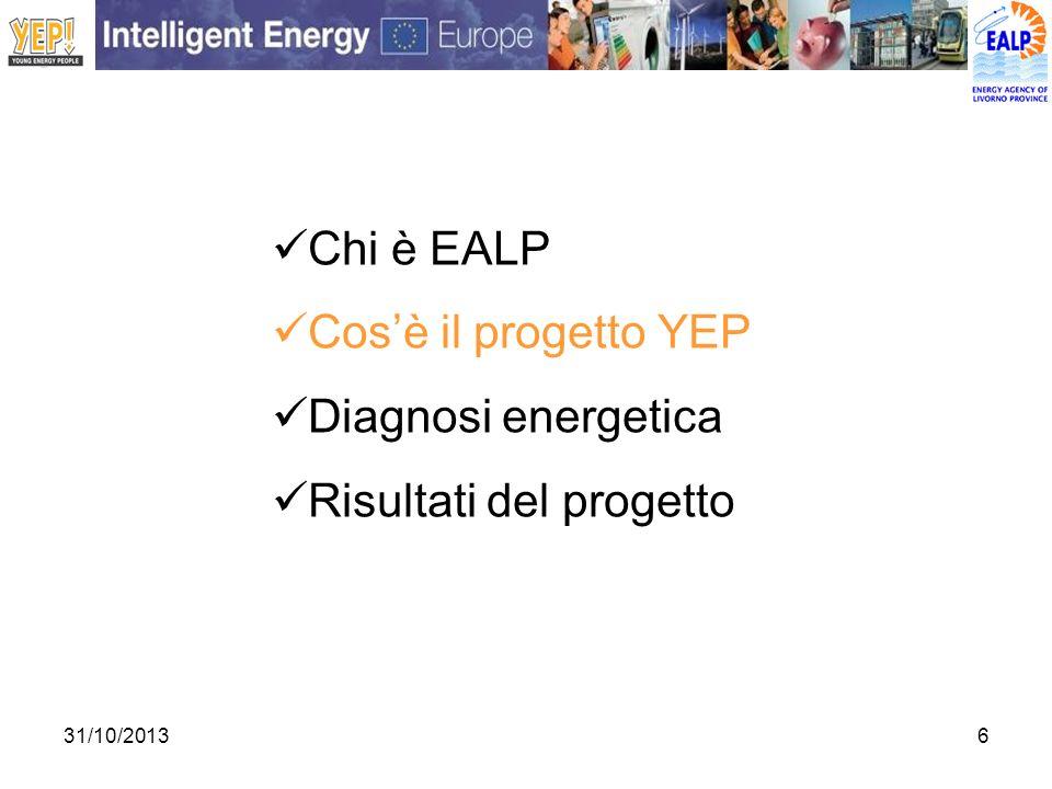 31/10/20136 Chi è EALP Cosè il progetto YEP Diagnosi energetica Risultati del progetto