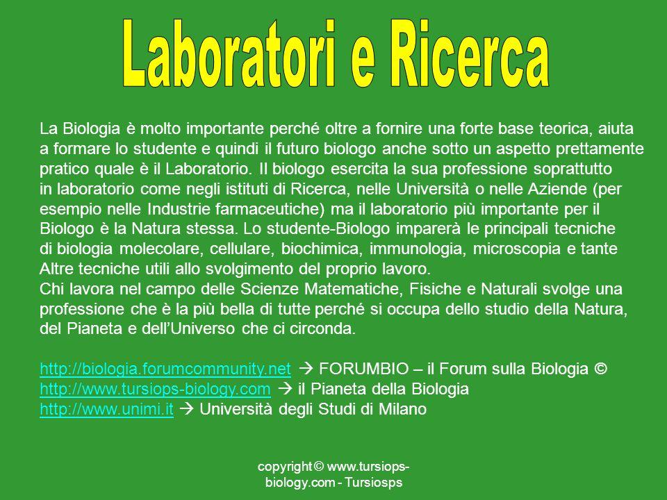 copyright © www.tursiops- biology.com - Tursiosps La Biologia è molto importante perché oltre a fornire una forte base teorica, aiuta a formare lo stu