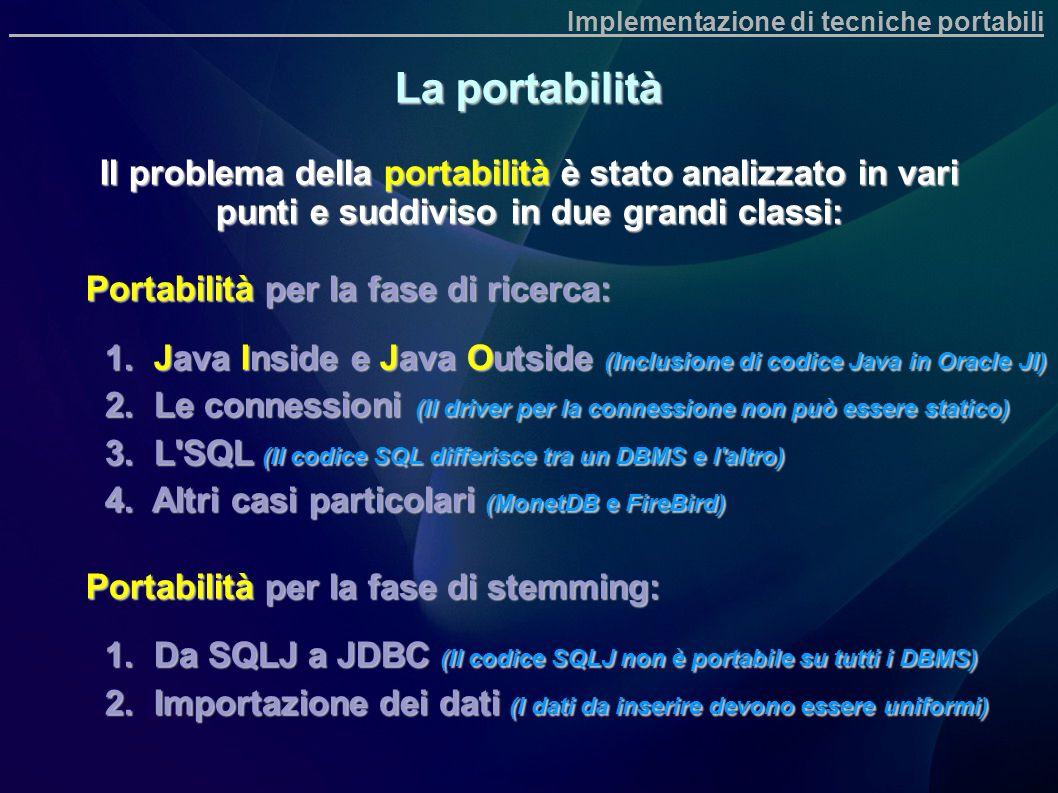 Implementazione di tecniche portabili La portabilità Il problema della portabilità è stato analizzato in vari punti e suddiviso in due grandi classi: