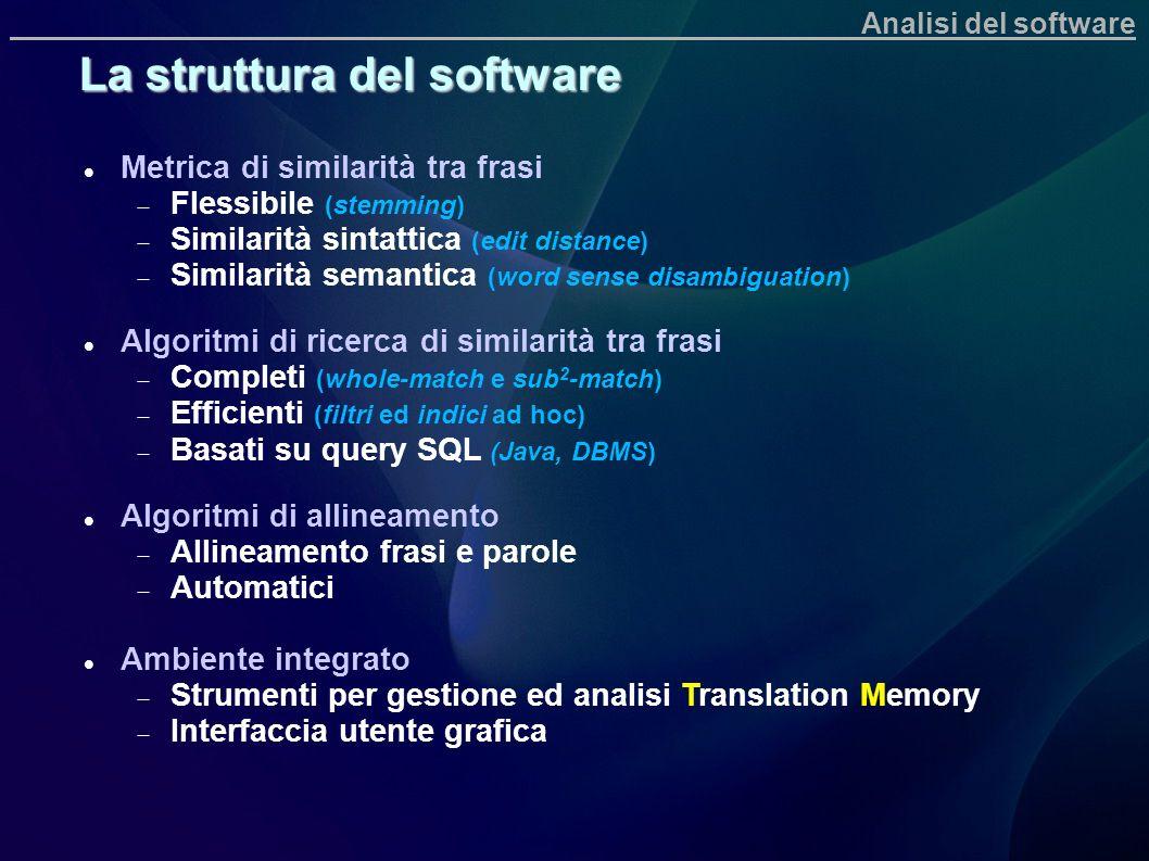 Metrica di similarità tra frasi Flessibile (stemming) Similarità sintattica (edit distance) Similarità semantica (word sense disambiguation) Algoritmi