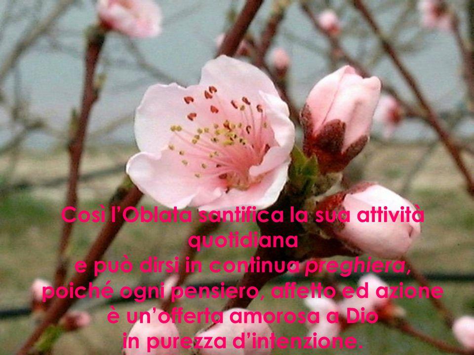 Così lOblata santifica la sua attività quotidiana e può dirsi in continua preghiera, poiché ogni pensiero, affetto ed azione è unofferta amorosa a Dio