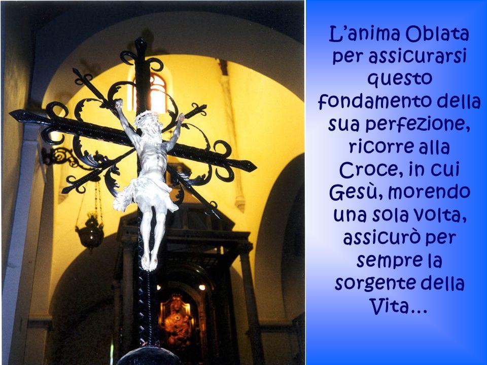 Lanima Oblata per assicurarsi questo fondamento della sua perfezione, ricorre alla Croce, in cui Gesù, morendo una sola volta, assicurò per sempre la