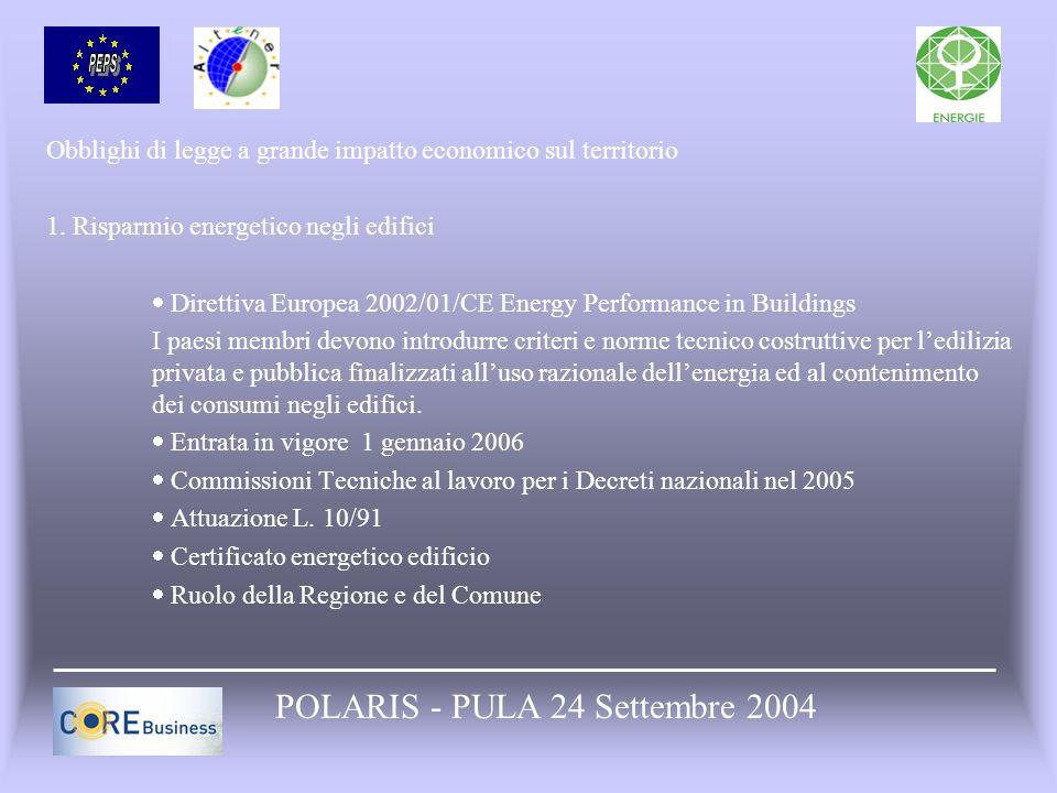 Obblighi di legge a grande impatto economico sul territorio 1. Risparmio energetico negli edifici Direttiva Europea 2002/01/CE Energy Performance in B