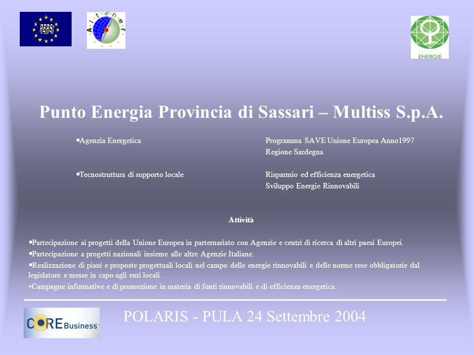 Punto Energia Provincia di Sassari – Multiss S.p.A. Agenzia Energetica Programma SAVE Unione Europea Anno1997 Regione Sardegna Tecnostruttura di suppo