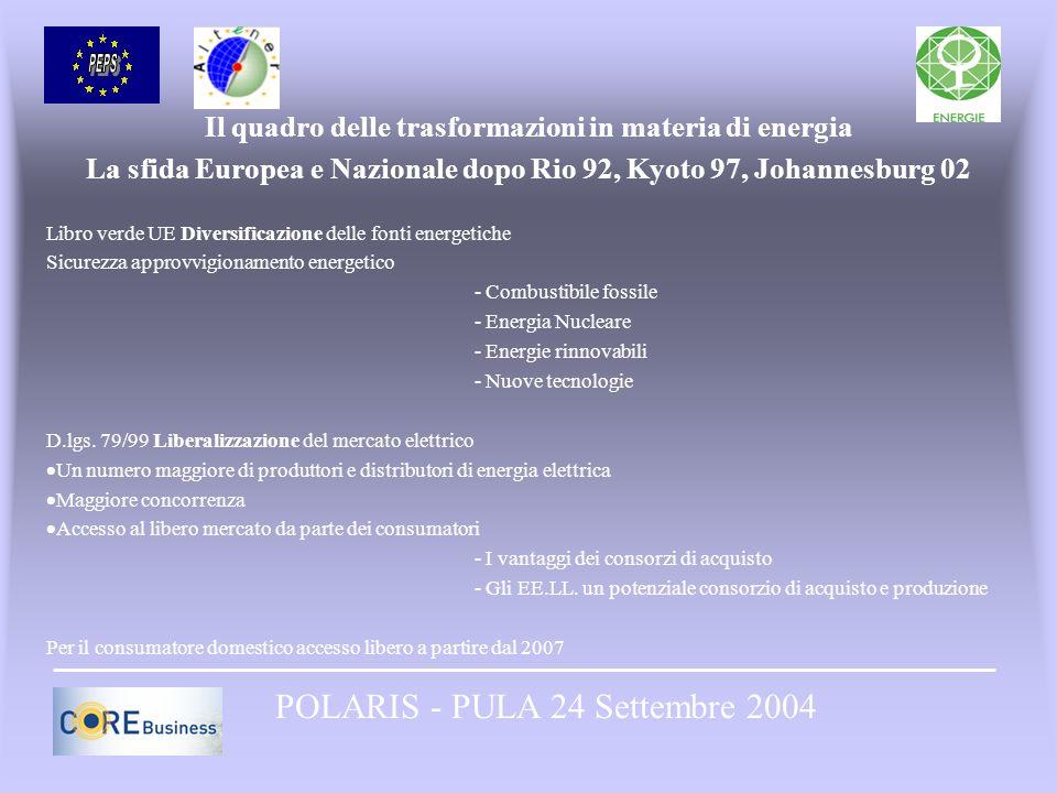 Il quadro delle trasformazioni in materia di energia La sfida Europea e Nazionale dopo Rio 92, Kyoto 97, Johannesburg 02 Libro verde UE Diversificazio