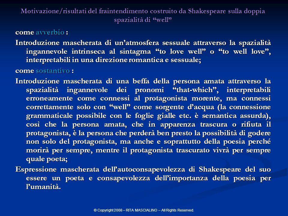 © Copyright 2008 – RITA MASCIALINO – All Rights Reserved. Motivazione/risultati del fraintendimento costruito da Shakespeare sulla doppia spazialità d