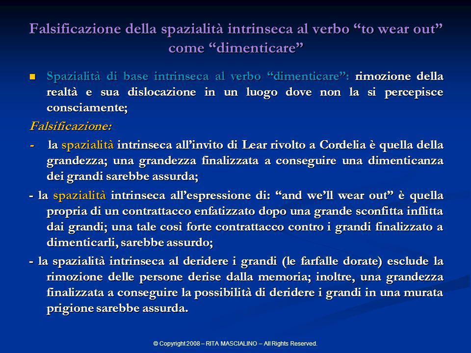 © Copyright 2008 – RITA MASCIALINO – All Rights Reserved. Falsificazione della spazialità intrinseca al verbo to wear out come dimenticare Spazialità