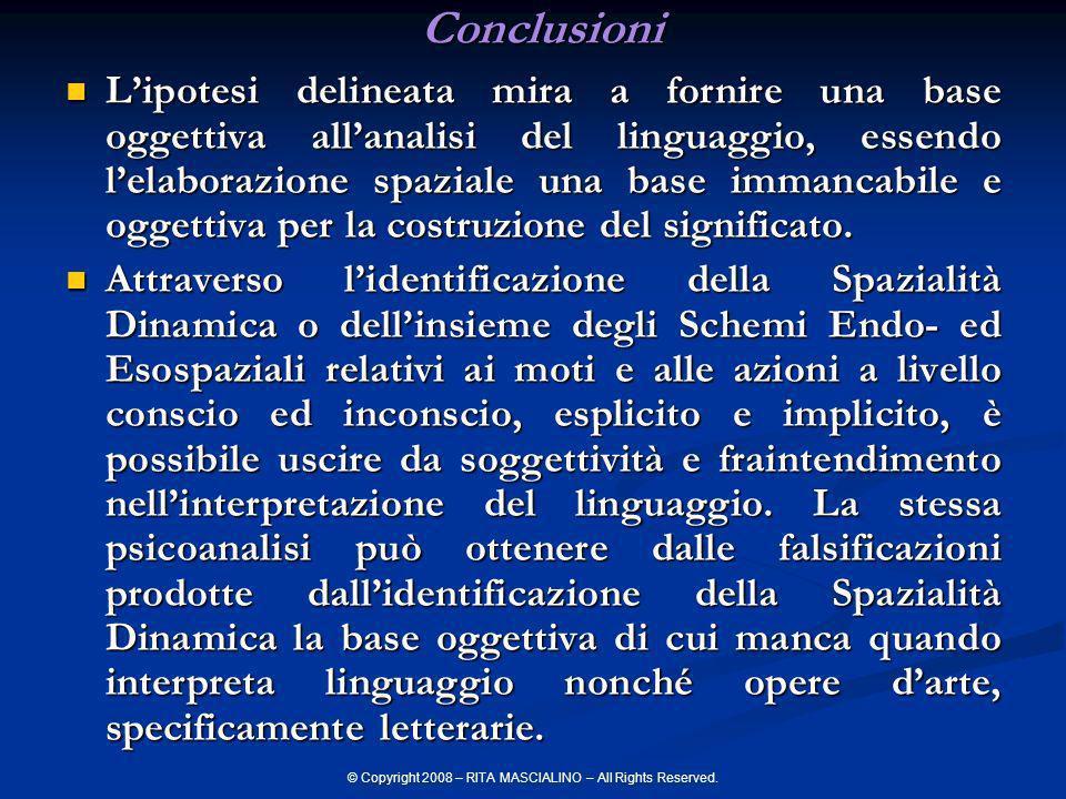 © Copyright 2008 – RITA MASCIALINO – All Rights Reserved.Conclusioni Lipotesi delineata mira a fornire una base oggettiva allanalisi del linguaggio, e