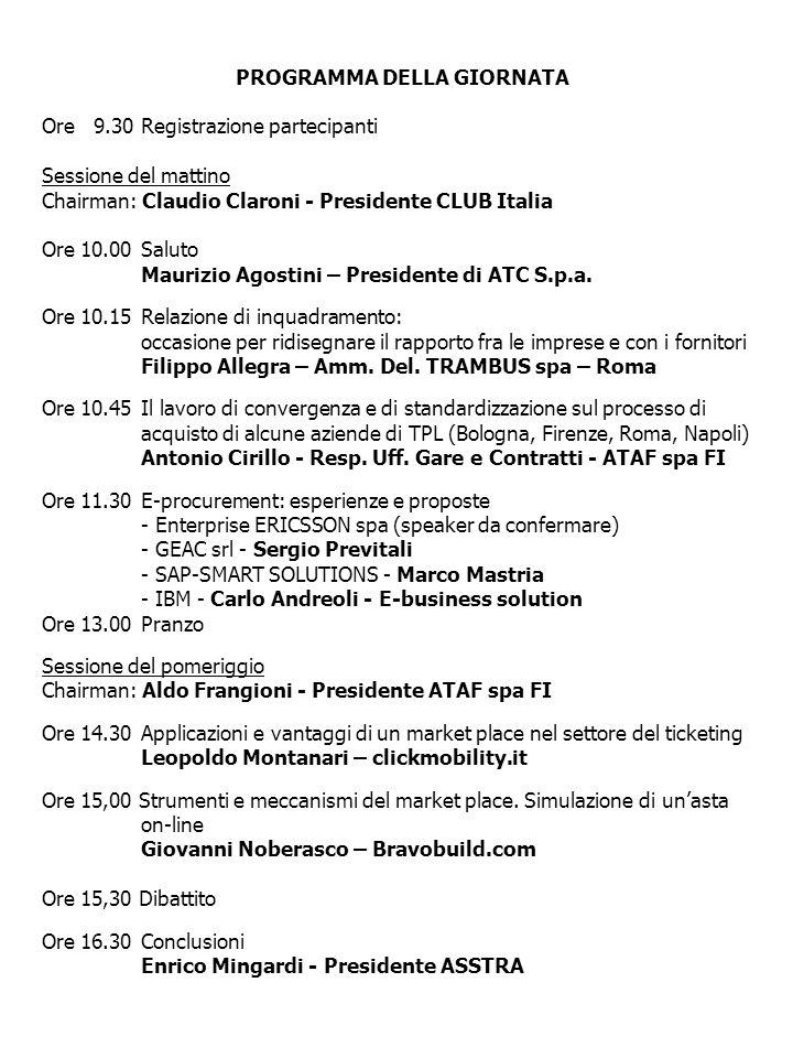 PROGRAMMA DELLA GIORNATA Ore 9.30Registrazione partecipanti Sessione del mattino Chairman: Claudio Claroni - Presidente CLUB Italia Ore 10.00Saluto Ma